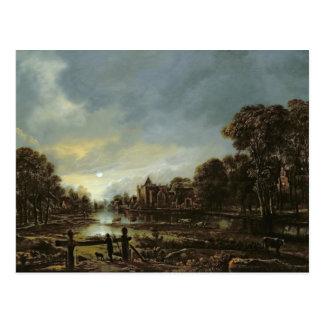 Carte Postale Paysage éclairé par la lune de rivière avec des