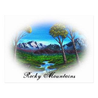 Carte Postale Paysage pourpre de courant de montagne rocheuse de