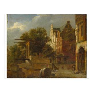 Carte Postale Paysage urbain avec le pont-levis par Adriaen van