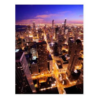 Carte Postale Paysage urbain la nuit de Chicago