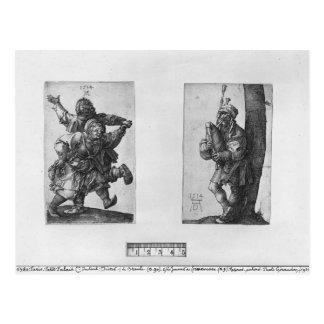 Carte Postale Paysans de danse et un joueur de cornemuse, 1514