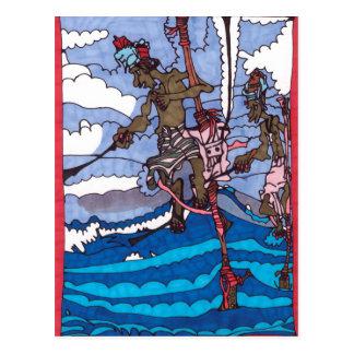 Carte Postale pêche d'échasse