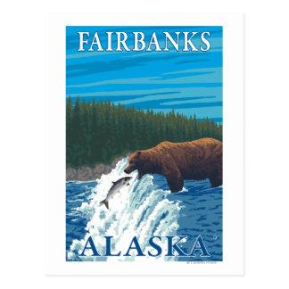 Carte Postale Pêche d'ours en rivière - Fairbanks, Alaska