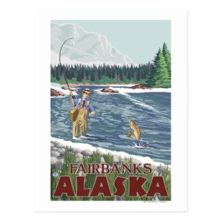 Carte Postale Pêcheur de mouche - Fairbanks, Alaska