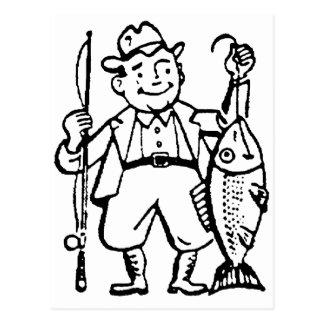 Carte Postale Pêcheur et sien crochet