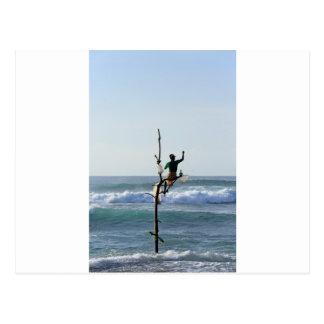 Carte Postale Pêcheurs de bâton du Sri Lanka pêchant la baie de