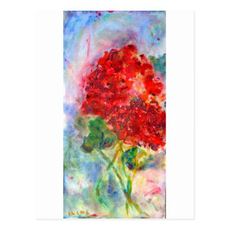 Carte Postale Peinture acrylique de géranium rouge