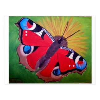Carte Postale Peinture acrylique de papillon de paon