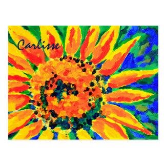 Carte Postale Peinture acrylique de tournesol simple coloré