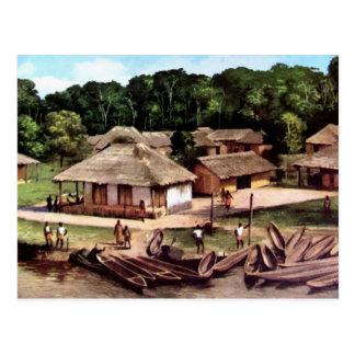 Carte Postale Peinture acrylique de village du Congo