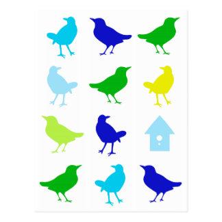 Carte Postale Peinture des oiseaux colorés par Chariklia Zarris