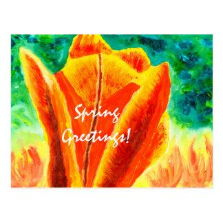 Carte Postale Peinture florale acrylique de tulipe jaune-orange
