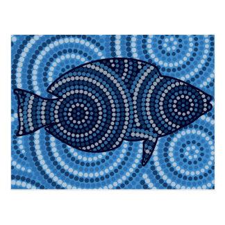Carte Postale Peinture indigène de point de poissons