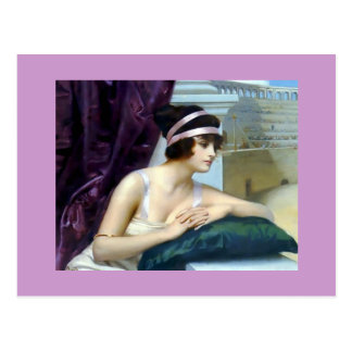 Carte Postale Peinture romaine de Colosseum de femme