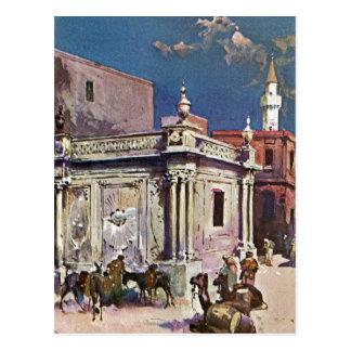 Carte Postale Peinture vintage d'aquarelle de Tripoli Libye de