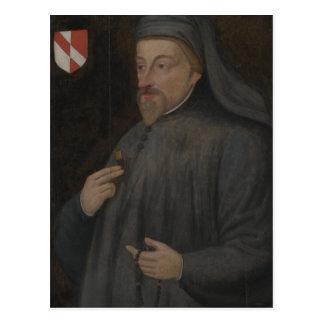 Carte Postale Peinture vintage de portrait de Geoffrey Chaucer