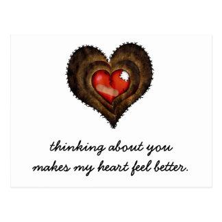 Carte Postale Penser à vous rend ma sensation de coeur meilleure