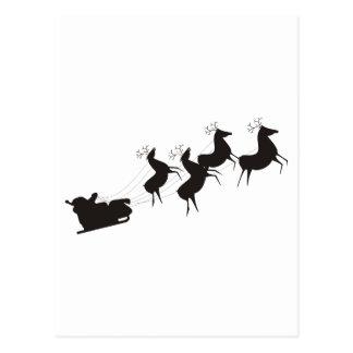 Carte Postale Père Noël noir et blanc et son Sleigh