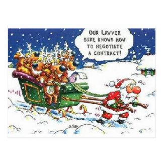 Carte Postale Père Noël tirant le renne