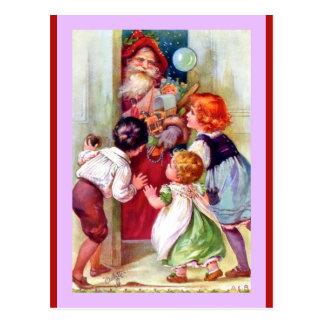 Carte Postale Père Noël vintage et enfants (une copie d'Oilette