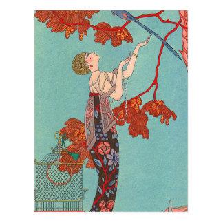 Carte Postale Perroquet bleu fou par George Barbier