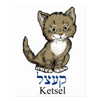 "Carte Postale petit chaton mignon ""ketsel"" dans Yiddish"