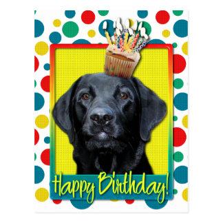 Carte Postale Petit gâteau d'anniversaire - Labrador - noir -