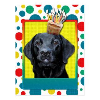 Carte Postale Petit gâteau d'invitation - Labrador - noir -