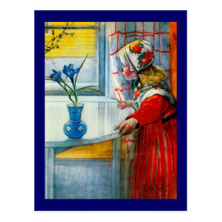 Carte Postale Petite fille avec l'iris bleu