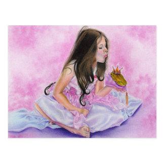 Carte Postale Petite princesse Kissing Frog Postcard