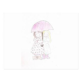 Carte Postale Petites filles sous le parapluie