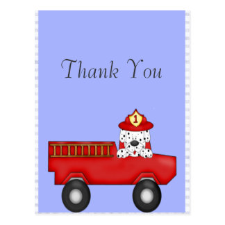 Carte Postale Peu de camion de pompiers rouge, anniversaire