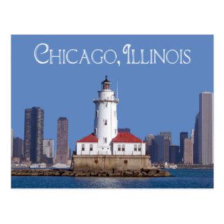 Carte Postale Phare de port de Chicago, Chicago l'Illinois