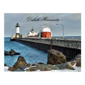 Carte Postale Phare et bateau, Duluth Minnesota