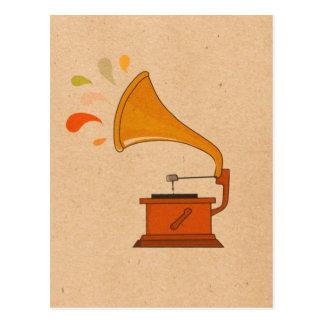 Carte Postale phonographe vintage avec des spashes de musique