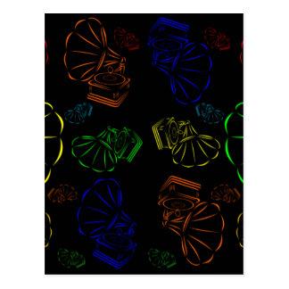 Carte Postale phonographes coloriés