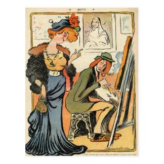 Carte Postale Phryne : caricature du modèle d'un artiste