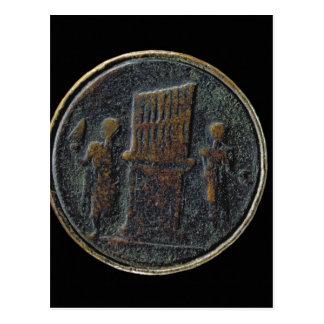Carte Postale Pièce de monnaie romaine dépeignant un organe