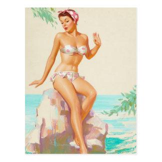 Carte Postale Pin de bikini de point de polka vers le haut d'art