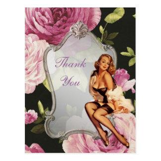 Carte Postale Pin de cru vers le haut douche nuptiale de femme