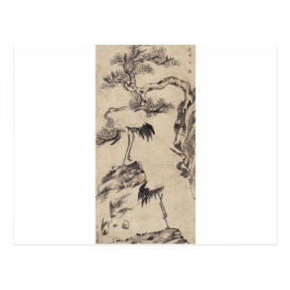 Carte Postale Pin et grues par Bada Shanren