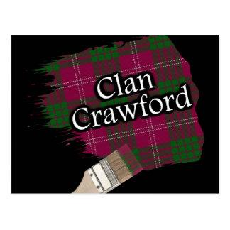 Carte Postale Pinceau écossais de tartan de Crawford de clan