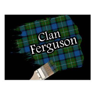 Carte Postale Pinceau écossais de tartan de Ferguson de clan