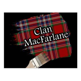 Carte Postale Pinceau écossais de tartan de MacFarlane de clan