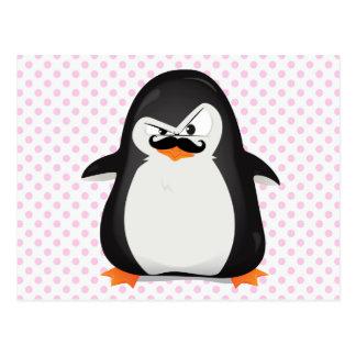 Carte Postale Pingouin blanc noir mignon et moustache drôle