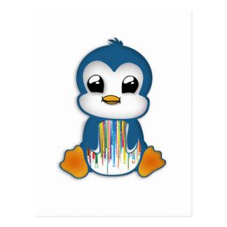 Carte Postale Pingouin orange bleu mignon