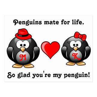 Carte Postale Pingouin si heureux vous êtes mon compagnon pour
