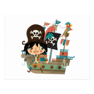Carte Postale Pirate et bateau de pirate