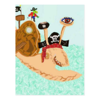 Carte Postale Pirate Magrid d'escargot et perroquet idiot de