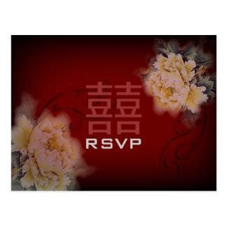 Carte Postale pivoine vintage RSVP l'épousant chinois floral de